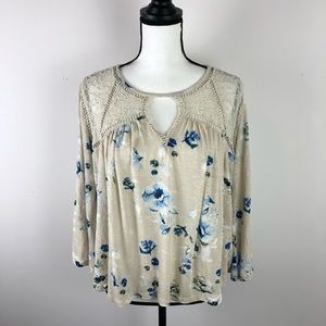LUCKY BRAND cream floral boho shirt large